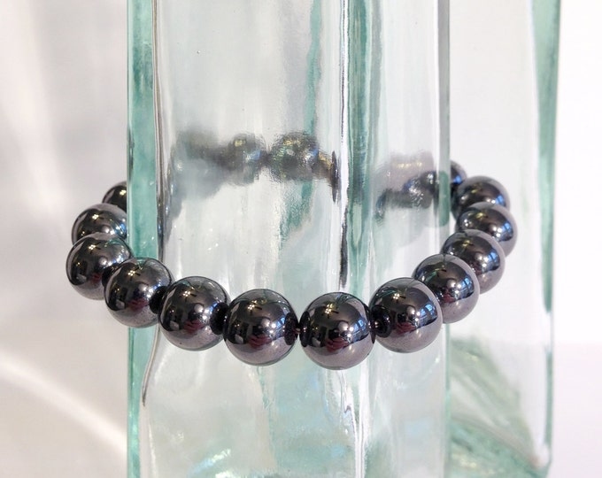 Classic magnetic hematite bracelet - 10mm beads - custom sized
