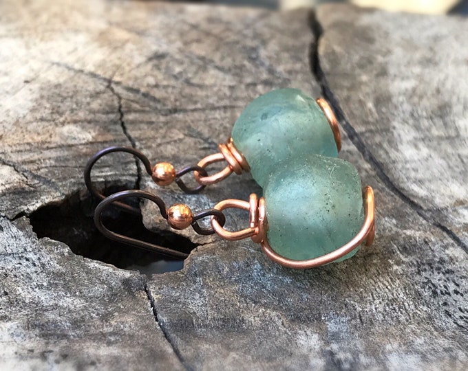 Green Trade Glass Copper Spiral Earrings - Recycled Glass - Solid Copper - Spiral Design - African Trade Glass Beads - Niobium Earring Hooks