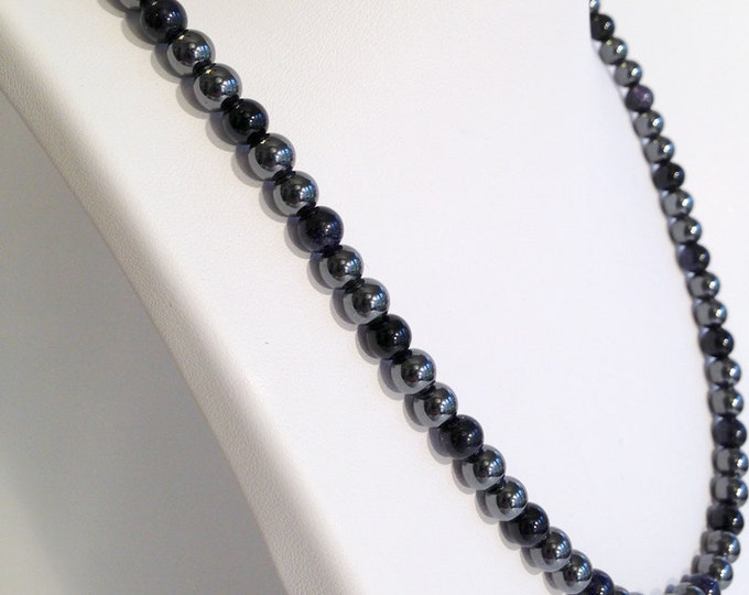 Magnetic hematite necklace - night sky color design - custom sized
