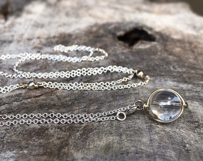 Quartz Crystal Y Style Lariat Necklace - Solid Sterling Silver - Round Clear Quartz Crystal Orb - Adjustable Length - Pools Of Light