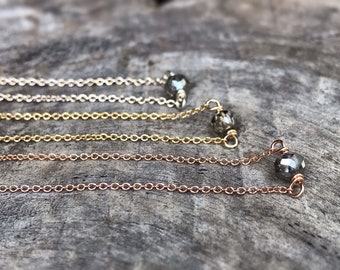 Tiny April Birthstone Necklace - Genuine Faceted Grey Diamond - Sterling Silver / 14k Yellow Gold Fill / 14k Rose Gold Fill - Minimalist