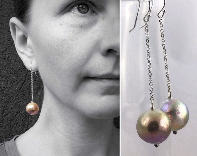 Large Fireball Pearl Earrings - Solid Sterling Silver - Long Dangle Earrings - Large Baroque Round Freshwater Pearls - Rainbow Pearls