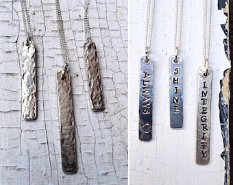 Sterling Silver Vertical Bar Necklace - Reversible - Hammered Textured - Rustic - Hand Wrought - Custom Stamping - Personalized