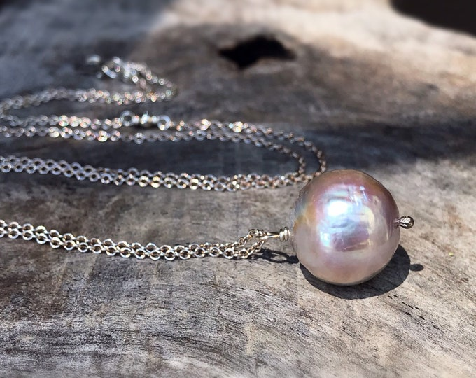 Large Fireball Pearl Pendant Necklace - Solid Sterling Silver - Large Single Baroque Round Freshwater Pearl - Rainbow Pearl