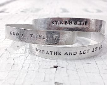 Personalized Sterling Silver Cuff Bracelet - Lightweight Cuff - Hammered and Custom Stamped - Men's and Women's Cuff