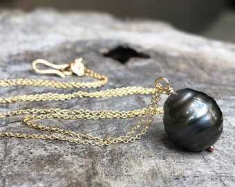 Tahitian Pearl Pendant Necklace - 14k Yellow Gold Filled - Single Genuine Baroque Tahitian Pearl - Silver/Grey/Bronze Saltwater Pearl