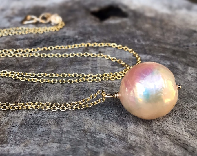 Large Fireball Pearl Pendant Necklace - 14k Yellow Gold Filled - Large Single Baroque Round Freshwater Pearl - Rainbow Pearl