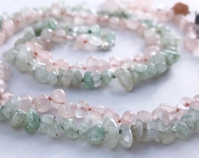 Long Multi Gemstone Beaded Necklace - Color Block - Rose Quartz - Aventurine - Labradorite - Peach Moonstone - Fine Silver - Sterling Silver