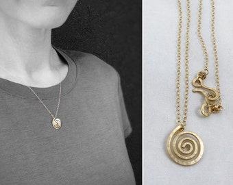 14k Yellow Gold Filled Spiral Necklace - Small Koru Spiral -  Hammer Formed - Subtle Hammered Texture