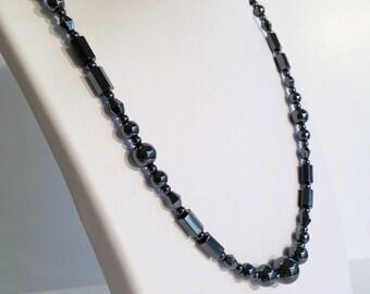 Regency necklace- magnetic hematite- custom sized to order