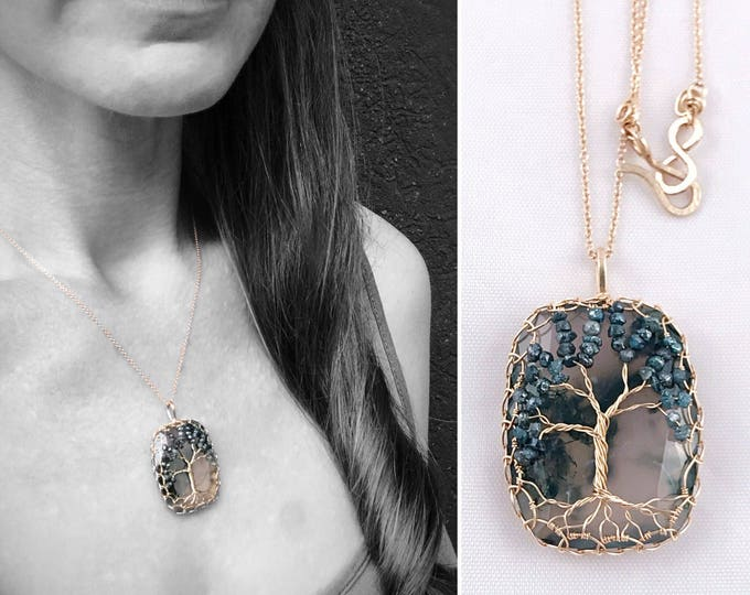 """Tree Of Life Necklace - Solid 14k Yellow Gold - Cushion Cut Faceted Moss Agate - Genuine Blue Diamond Leaves - """"Everlasting Oak"""""""