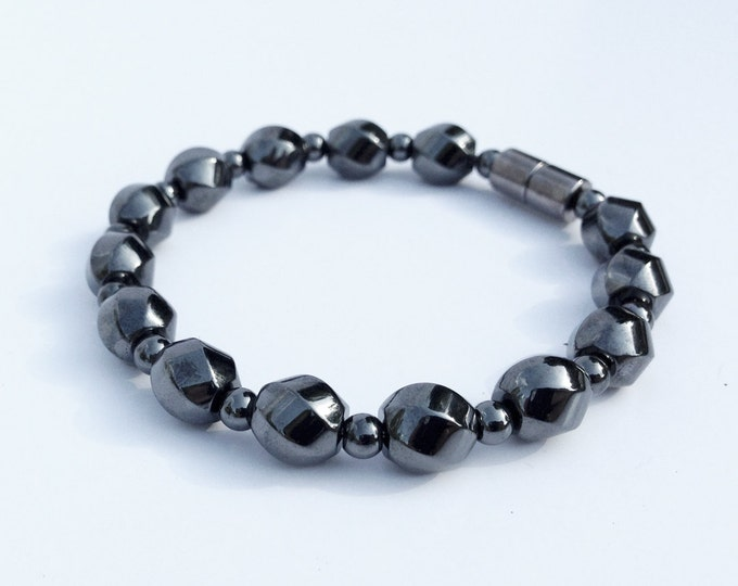 Magnetic hematite bracelet - swirly stone beads - custom sized