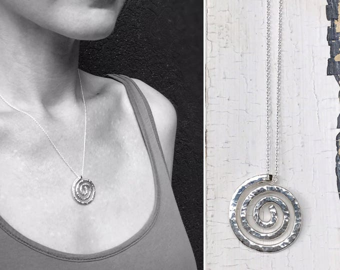 Sterling Silver Spiral Necklace - Large Koru Spiral -  Hammer Formed - Rustic Hammered Texture