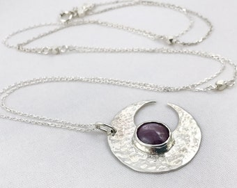 Ruby Moon Crescent Necklace - Solid Sterling Silver - Genuine Mysore Star Ruby - Rustic Hammer Forged - Adjustable Length