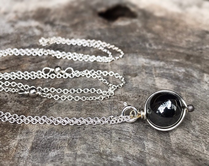 "Hematite Stone Y Style Lariat Necklace - Solid Sterling Silver - Round Smooth Reflective Hematite Orb - Adjustable Length - ""Mirror Orb"""