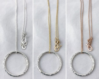 Sterling Silver Free Floating Circle Necklace - Rustic Minimalist - Hammer Formed Textured Circle - Long Chain - Choose Your Chain Color