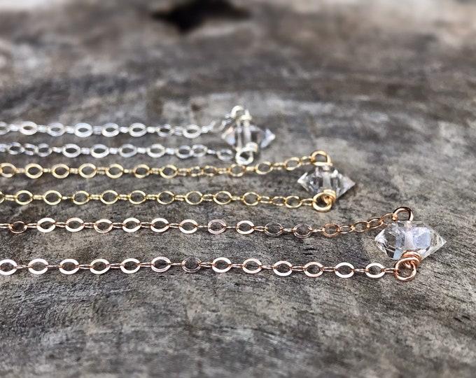 Tiny April Birthstone Necklace - Genuine Herkimer Diamond - Sterling Silver / 14k Yellow Gold Fill / 14k Rose Gold Fill - Dainty Minimalist