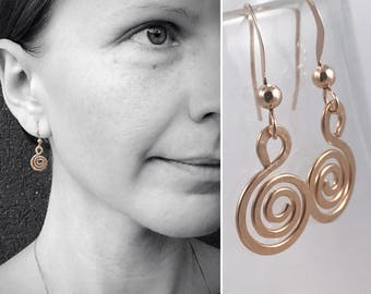 Rose Gold Spiral Earrings - 14k Rose Gold Filled - Koru Spiral -  Hammer Formed - Subtle Hammered Texture