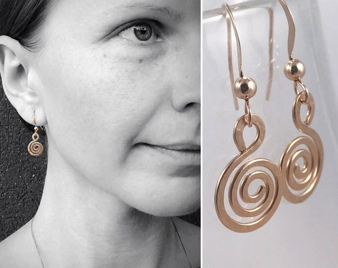 Gold Filled Spiral Earrings - 14k Rose Gold Filled - Koru Spiral -  Hammer Formed - Subtle Hammered Texture