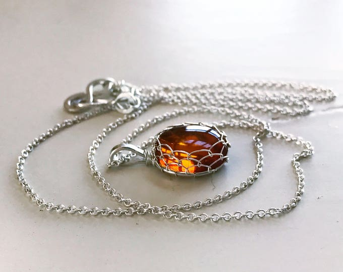Amber and Sterling Silver Pendant Necklace - Honey Golden Orange - Genuine Amber - Spiral Design