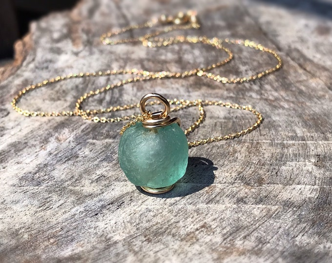 Green Trade Glass Yellow Gold Spiral Pendant Necklace - Recycled Glass - 14k Yellow Gold Filled - Spiral Design - African Trade Glass