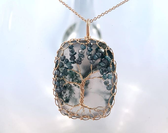 "Tree Of Life Necklace - Solid 14k Yellow Gold - Cushion Cut Faceted Moss Agate - Genuine Blue Diamond Leaves - ""Everlasting Oak"""