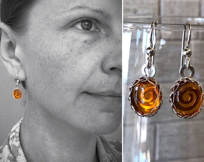 Amber Drop Earrings - Solid Sterling Silver - Genuine Amber - Honey Golden Orange - Victorian Style - Koru Spiral Design - Lightweight