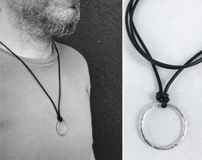Men's Sterling Silver Circle Necklace - Rustic - Hammer Formed Textured Circle - Adjustable Leather Cord