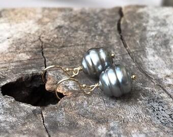 Tahitian Pearl Drop Earrings - 14k Yellow Gold Filled - Genuine Baroque Tahitian Pearls - Silver/Grey/Gold/Blue Saltwater Pearls