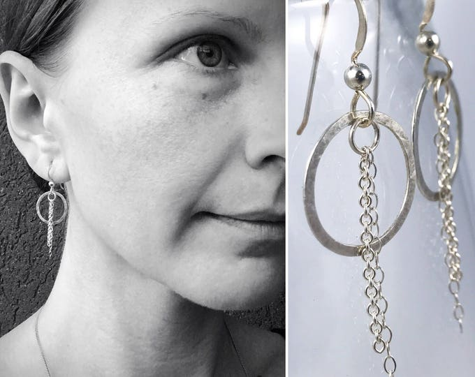 "Silver Circle Chain Tassel Earrings - Solid Sterling Silver - Subtle Hammered Texture - Lightweight Minimalist - ""Moonbeam"" Earrings"