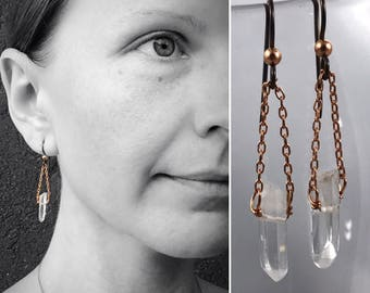 Quartz Crystal Point Earrings - Solid Copper - Polished Quartz Points - Hypoallergenic Niobium Hooks - Long Dangle Earrings