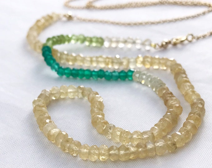 Long Faceted Stone Chain Necklace - Color Block Necklace - Citrine - Peridot - Lemon Quartz - Green Onyx - 14k Yellow Gold Filled Chain