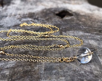 Quartz Crystal Y Style Lariat Necklace - 14k Yellow Gold Filled - Round Clear Quartz Crystal Orb - Adjustable Length - Pools Of Light