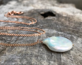 Ivory Cream Pearl Pendant Necklace - 14k Rose Gold Filled - Large Single Baroque Freshwater Coin Pearl