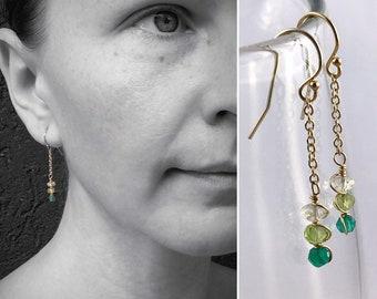 Faceted Stone Chain Earrings - Ombre Stone Earrings - 14k Yellow Gold Filled - Dangle Drop Earrings - Lemon Quartz - Peridot - Green Onyx