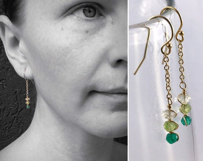 Faceted Stone Chain Earrings - Ombre Stone Earrings - 14k Yellow Gold Filled - Dangle Drop Earrings - Lemon Quartz - Peridot - Green Onyx