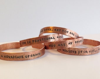 Personalized Copper Cuff Bracelet - Lightweight Cuff - Hammered and Custom Stamped - Men's and Women's Cuff