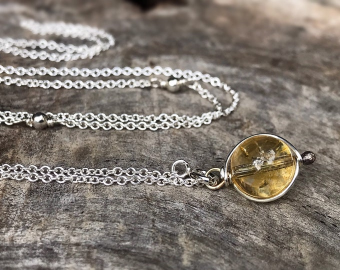 "Citrine Crystal Y Style Lariat Necklace - Solid Sterling Silver - Round Translucent Citrine Crystal Orb - Adjustable Length - ""Sunlight Orb"""