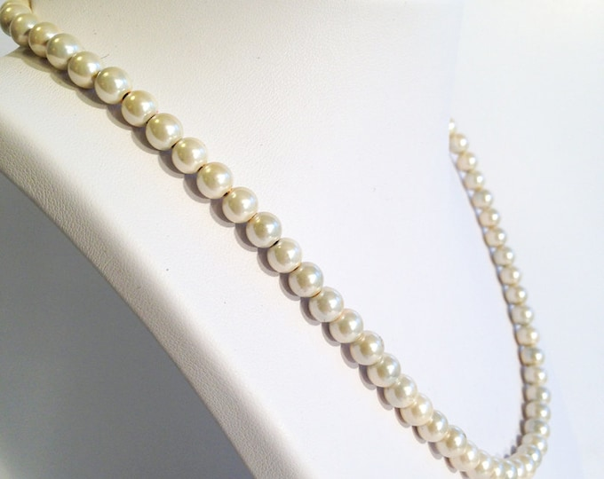 Magnetic hematite necklace - pearly ivory 6mm beads - custom sized