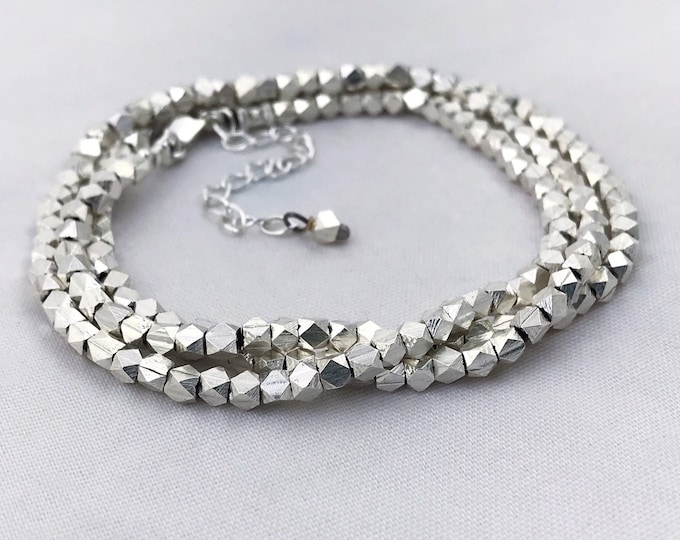 Fine Silver Nugget Triple Wrap Bracelet / Necklace - Fine Silver Geometric Nuggets - Sterling Silver Chain / Clasp - Adjustable Length