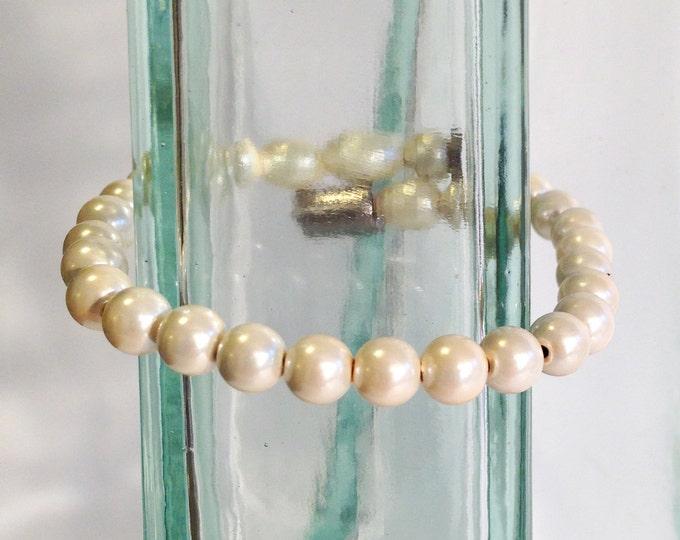 Magnetic hematite bracelet - pearly ivory 6mm beads - custom sized