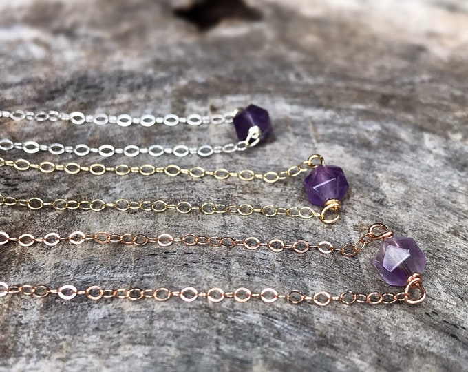 Tiny February Birthstone Necklace - Genuine Faceted Amethyst - Sterling Silver / 14k Yellow Gold Fill / 14k Rose Gold Fill - Minimalist