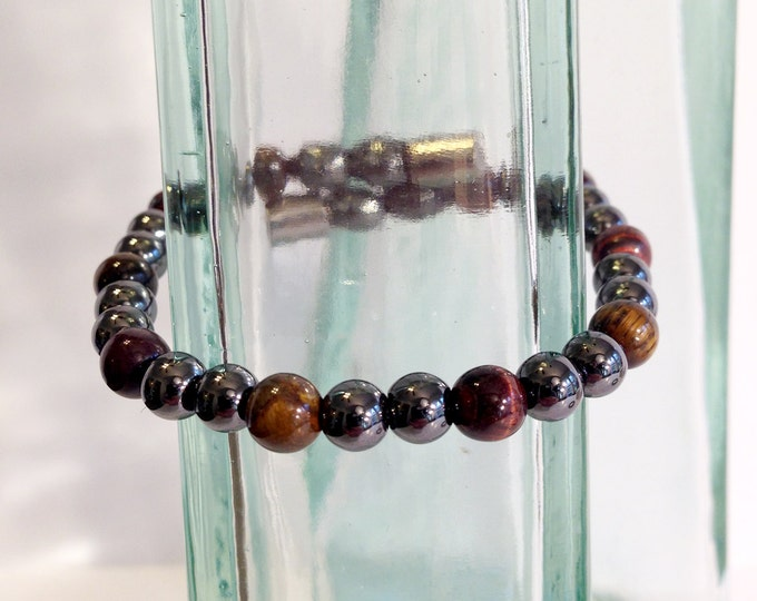 Magnetic hematite bracelet - eye of the tiger color design - custom sized