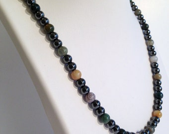 Magnetic hematite necklace - forest moss color design - custom sized
