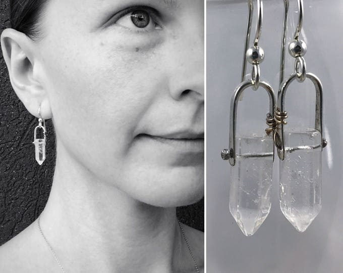 "Quartz Crystal Point Earrings - Sterling Silver - Faceted Quartz Points - ""Piezo"" Earrings"