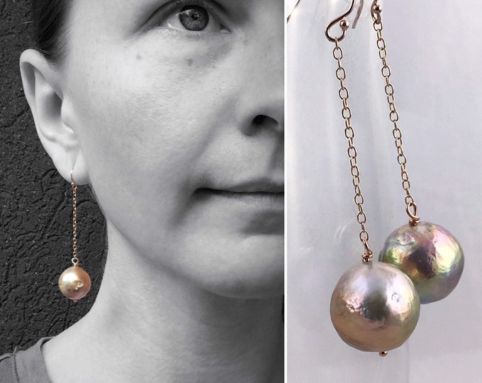 Large Fireball Pearl Earrings - 14k Rose Gold Filled - Long Dangle Earrings - Large Baroque Round Freshwater Pearls - Rainbow Pearls