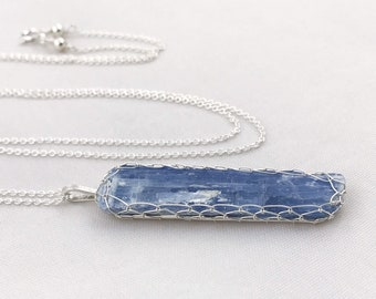 Blue Kyanite Blade Necklace - Solid Sterling Silver - Raw Kyanite Crystal Necklace - Long Layering Necklace