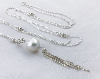 Pearl Tassel Lariat Necklace - Sterling Silver Y Necklace- Long Adjustable Length - Genuine White Freshwater Fireball Pearl
