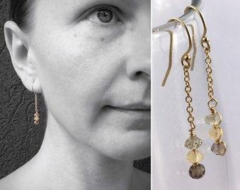 Faceted Stone Chain Earrings - Ombre Stone Earrings - 14k Yellow Gold Filled - Dangle Drop Earrings - Lemon Quartz - Citrine - Smoky Quartz