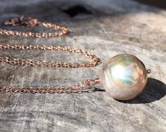 Large Fireball Pearl Pendant Necklace - 14k Rose Gold Filled - Large Single Baroque Round Freshwater Pearl - Rainbow Pearl